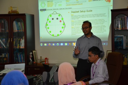 The Emotiv is demonstrated by Fakhru