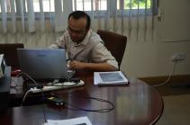 Fakhru during his PhD presentation