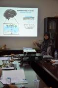 Nasihah showing her stroke model